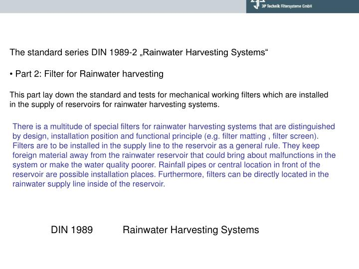 "The standard series DIN 1989-2 ""Rainwater Harvesting Systems"""