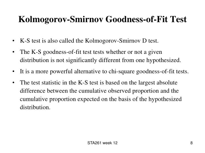 Kolmogorov-Smirnov Goodness-of-Fit Test