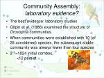 community assembly laboratory evidence