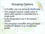 grouping options