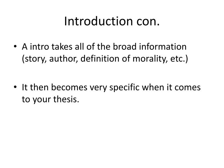 Introduction con.