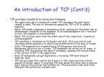 an introduction of tcp cont d