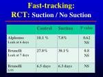 fast tracking rct suction no suction