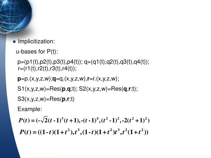 Implicitization: