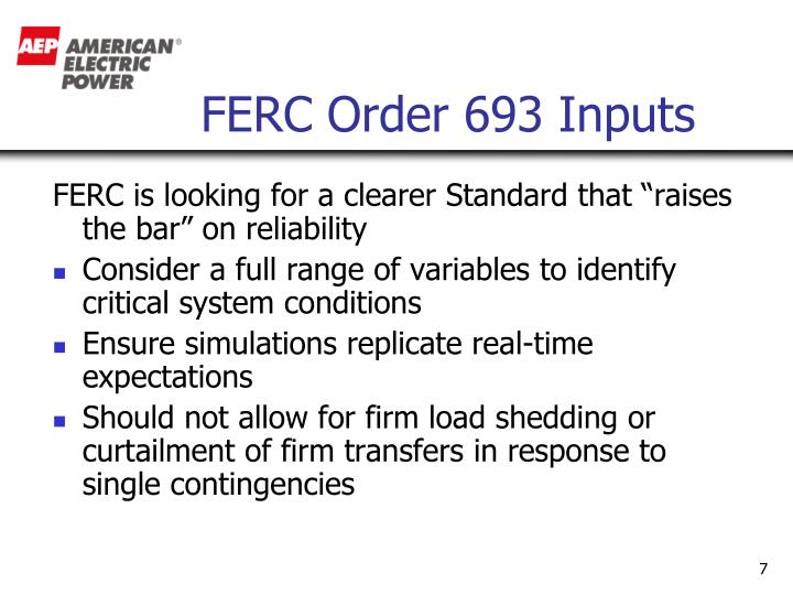 FERC Order 693 Inputs
