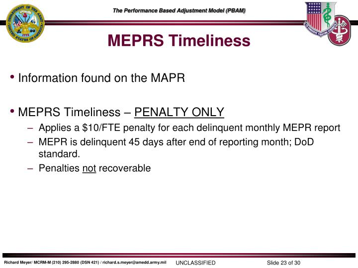 MEPRS Timeliness
