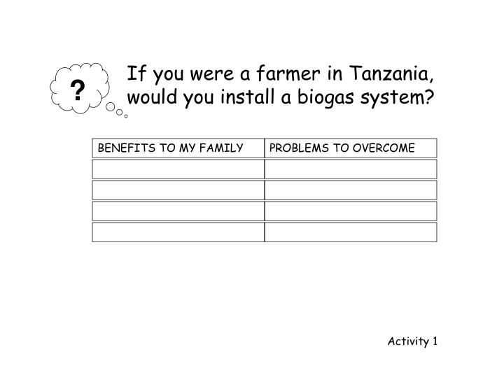 If you were a farmer in Tanzania,             would you install a biogas system?
