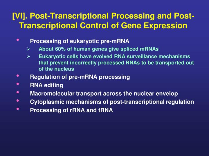 vi post transcriptional processing and post transcriptional control of gene expression n.