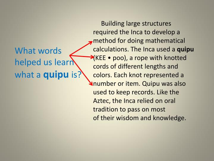 Building large structures required the Inca to develop a method for doing mathematical calculations. The Inca used a