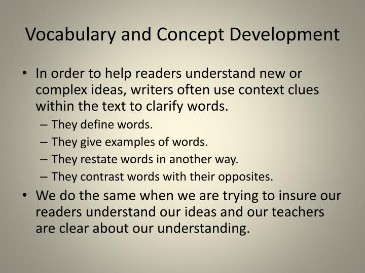 Vocabulary and concept development