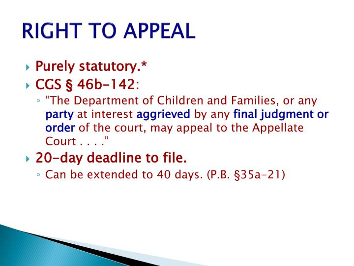 Right to appeal
