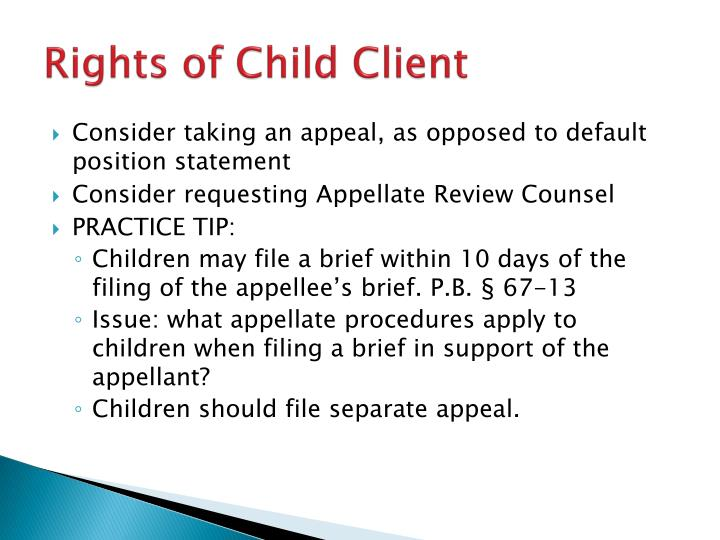 Rights of Child Client