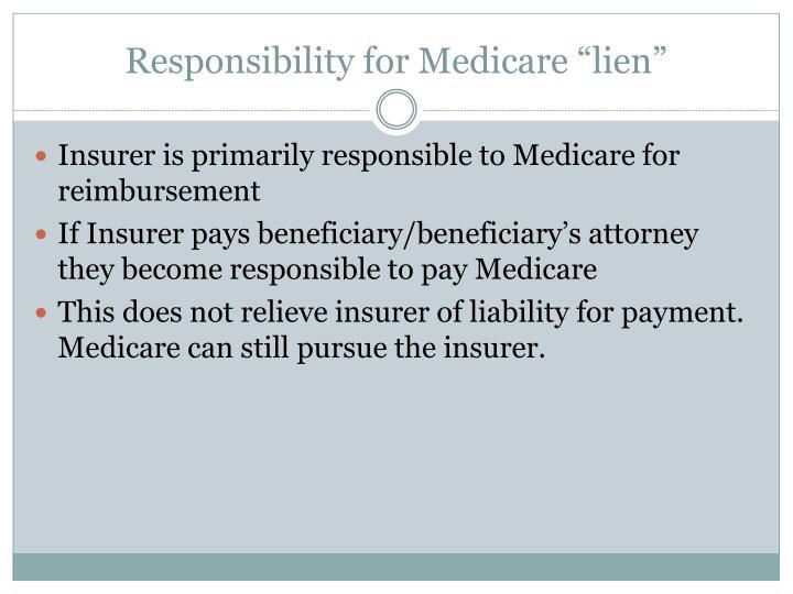 "Responsibility for Medicare ""lien"""
