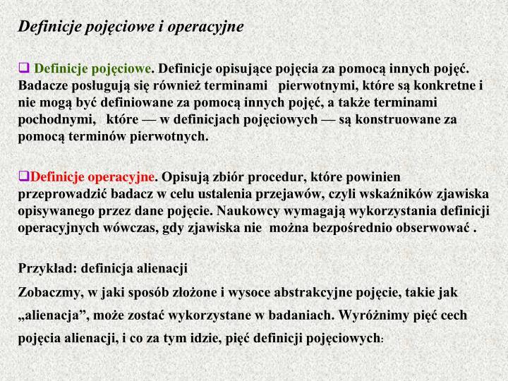 Definicje pojęciowe i operacyjne
