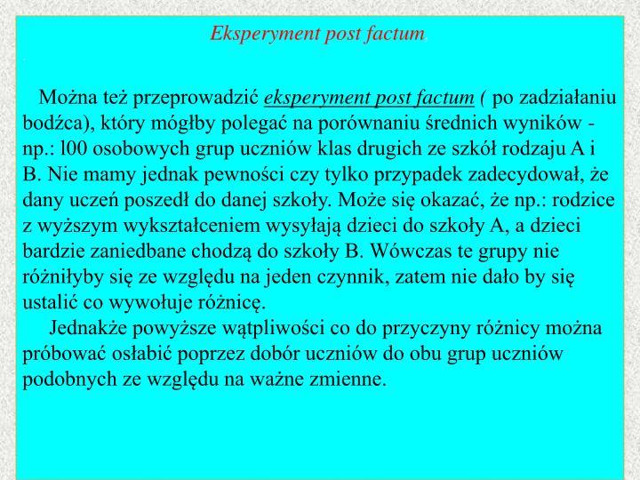 Eksperyment post factum
