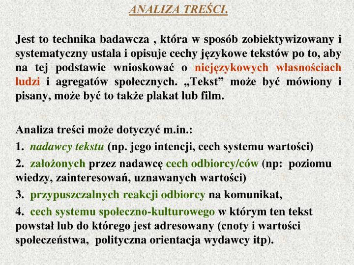 ANALIZA TREŚCI