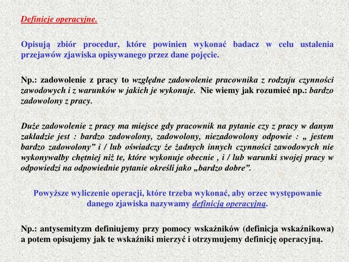 Definicje operacyjne.