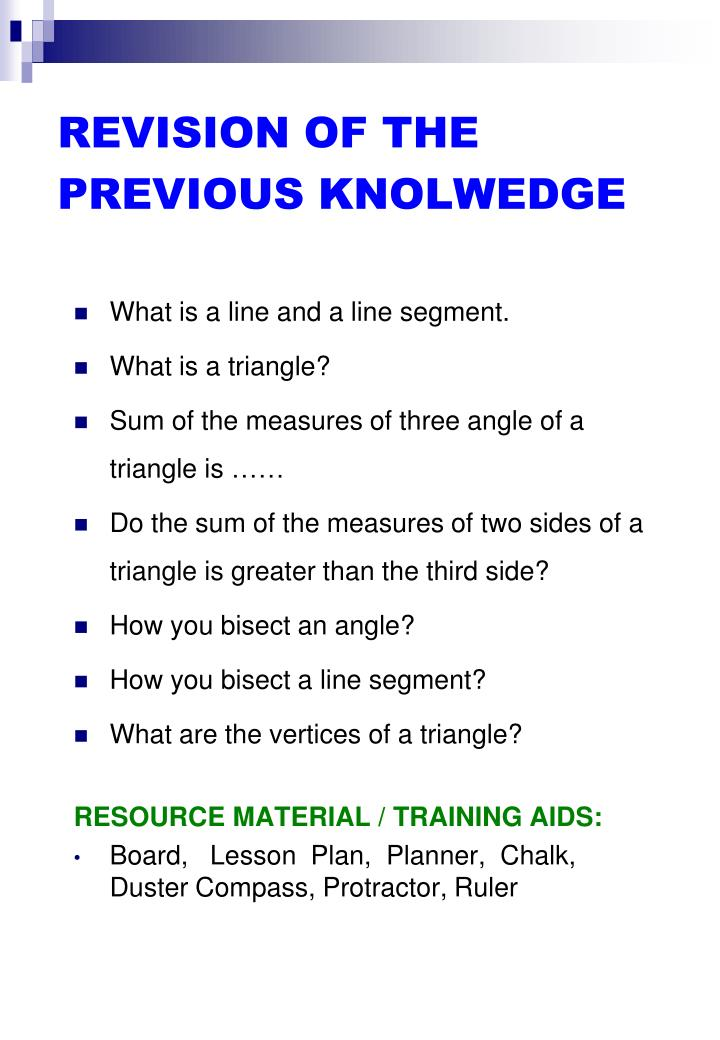 REVISION OF THE PREVIOUS KNOLWEDGE