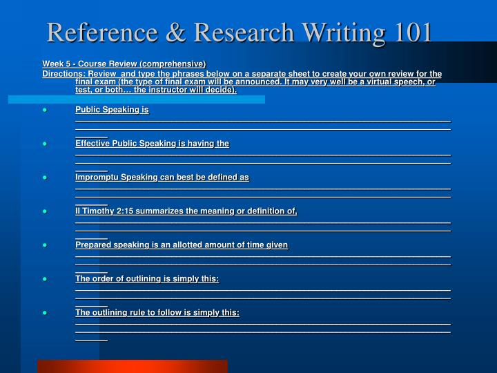 Reference & Research Writing 101