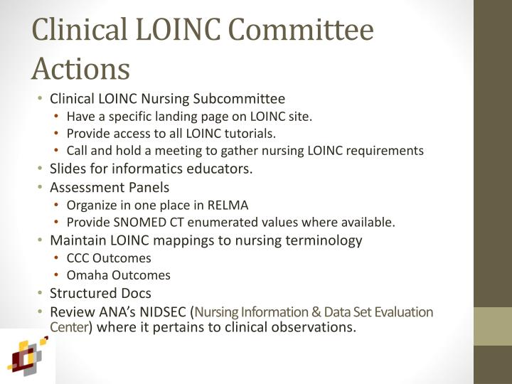 Clinical LOINC Committee Actions