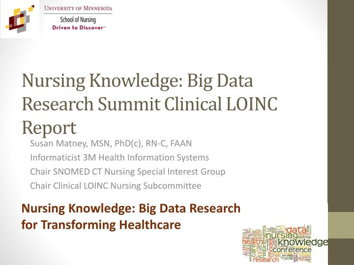 Nursing knowledge big data research summit clinical loinc report