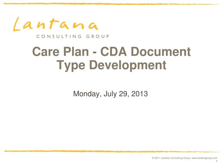 Care Plan - CDA Document Type Development