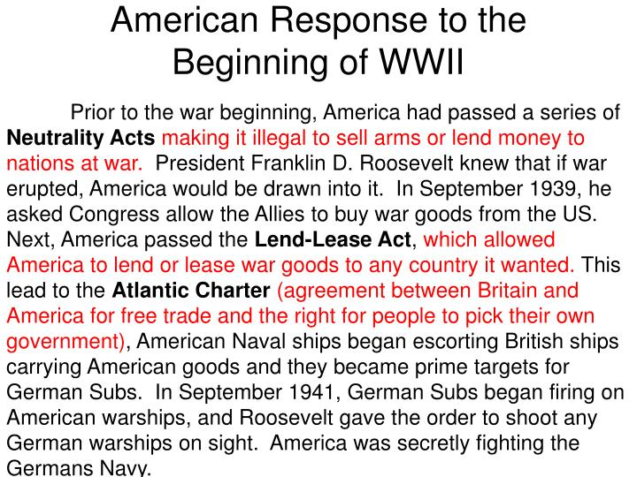 American Response to the Beginning of WWII
