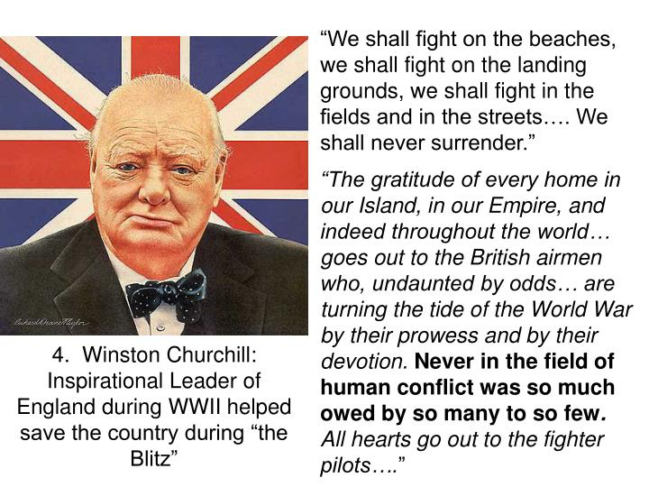 """""""We shall fight on the beaches, we shall fight on the landing grounds, we shall fight in the fields and in the streets…. We shall never surrender."""""""