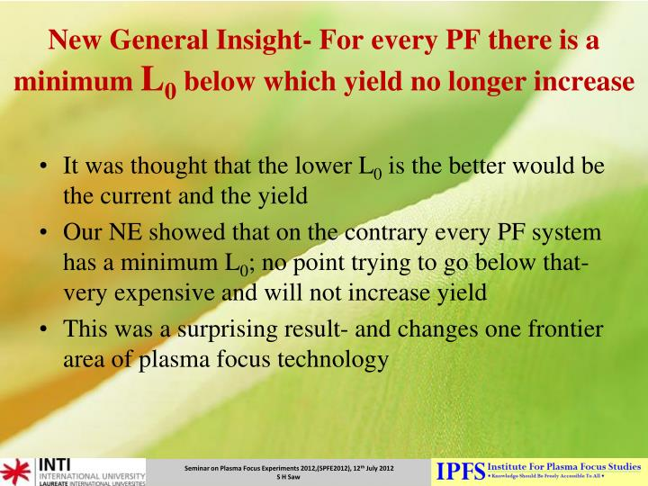 New General Insight- For every PF there is a minimum