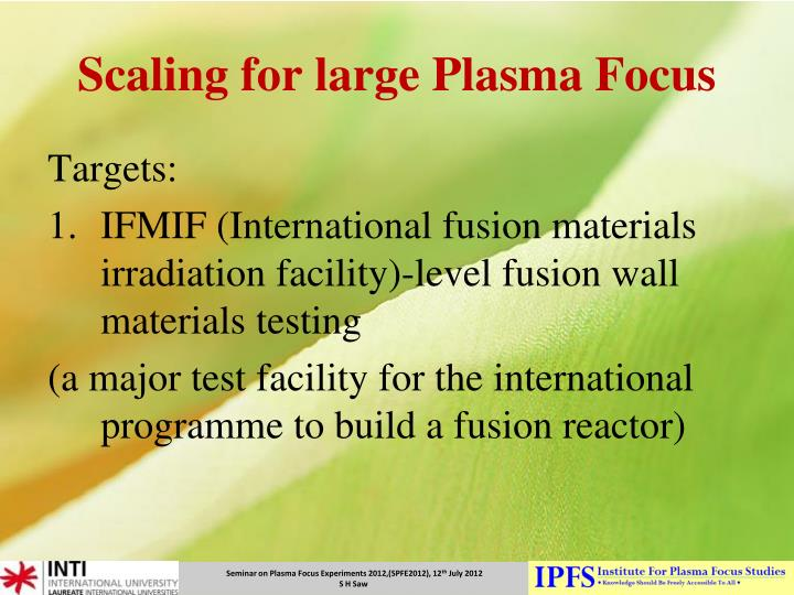 Scaling for large Plasma Focus