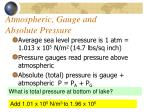 atmospheric gauge and absolute pressure