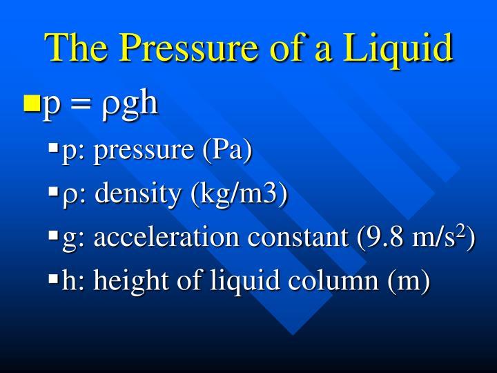 The Pressure of a Liquid