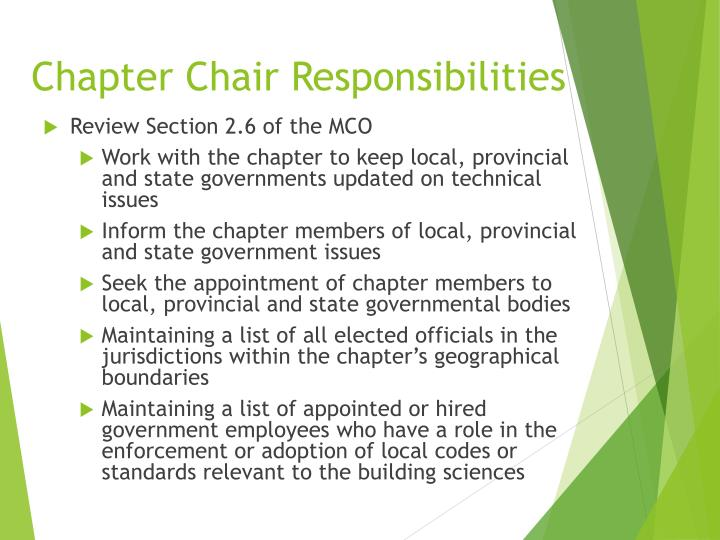 Chapter Chair Responsibilities