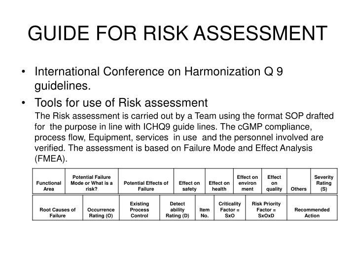 GUIDE FOR RISK ASSESSMENT