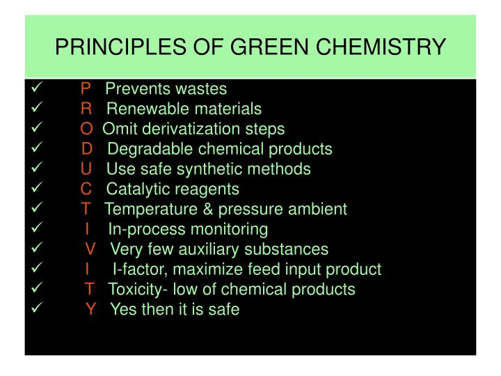PRINCIPLES OF GREEN CHEMISTRY