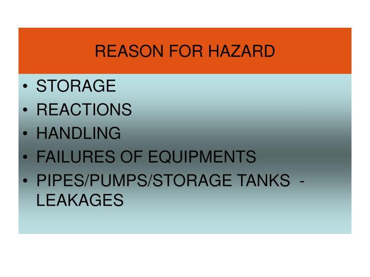 Reason for hazard