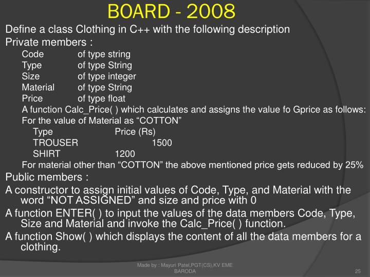 BOARD - 2008