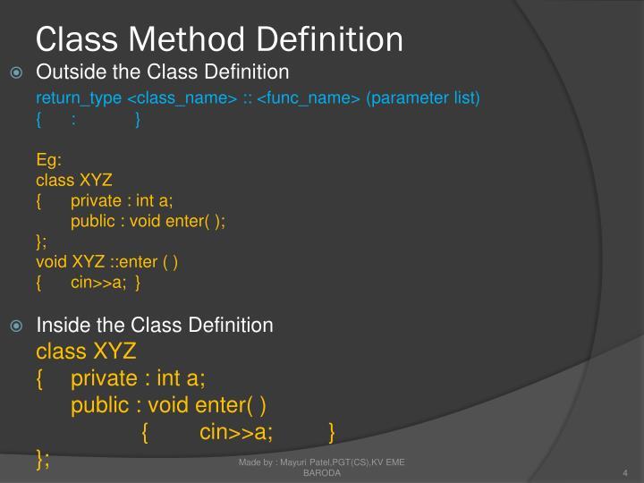 Class Method Definition