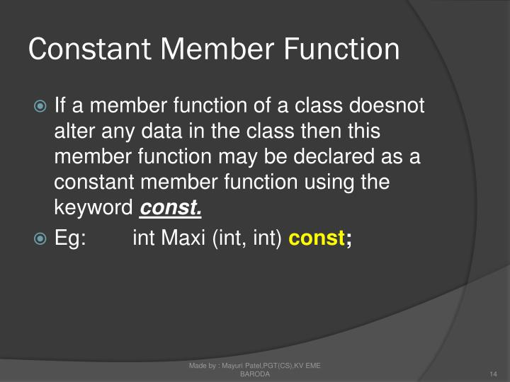 Constant Member Function