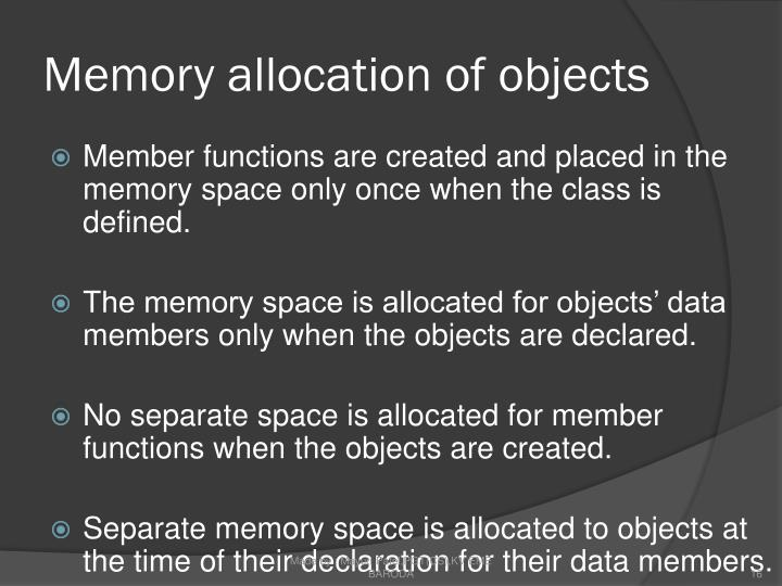 Memory allocation of objects