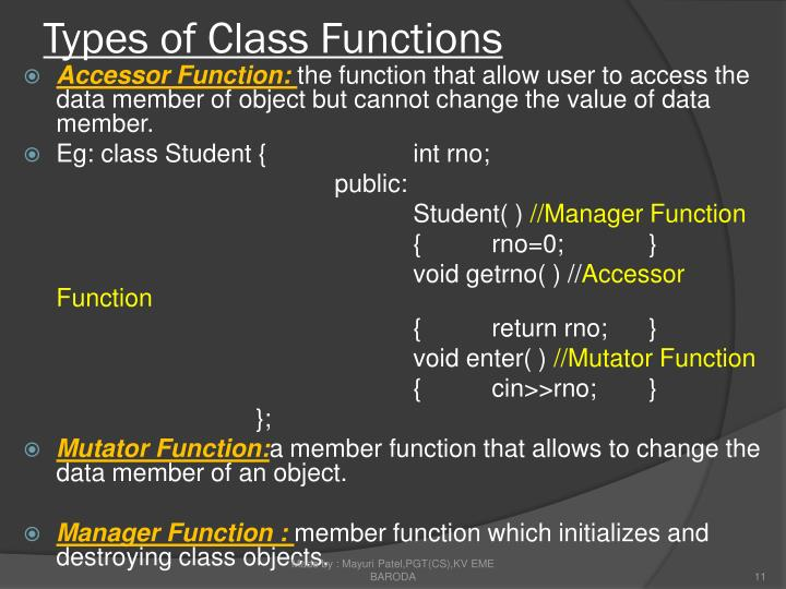 Types of Class Functions