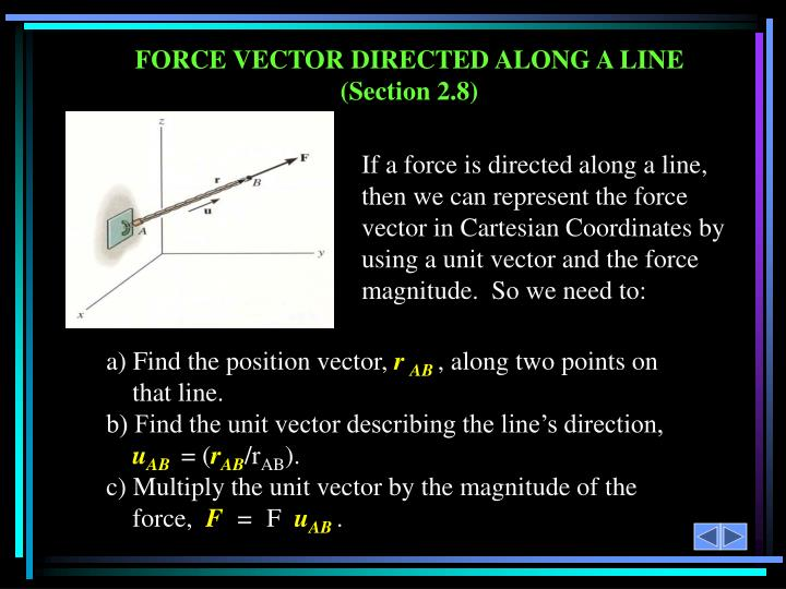 FORCE VECTOR DIRECTED ALONG A LINE (Section 2.8)
