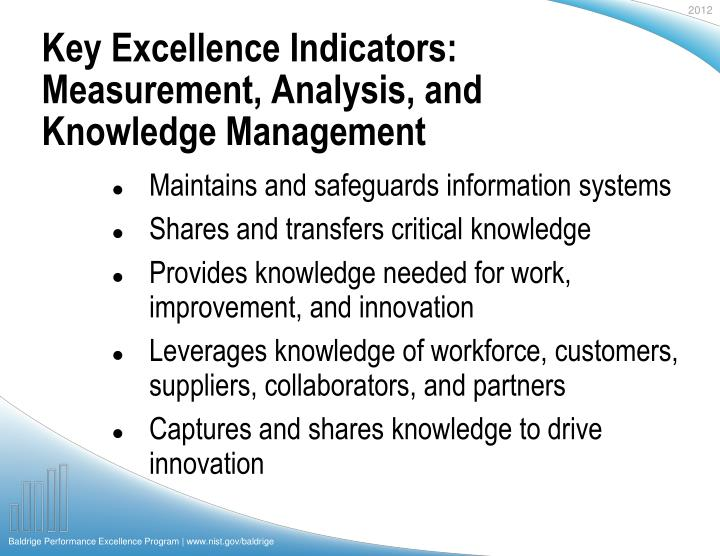 Key Excellence Indicators: Measurement, Analysis, and Knowledge Management