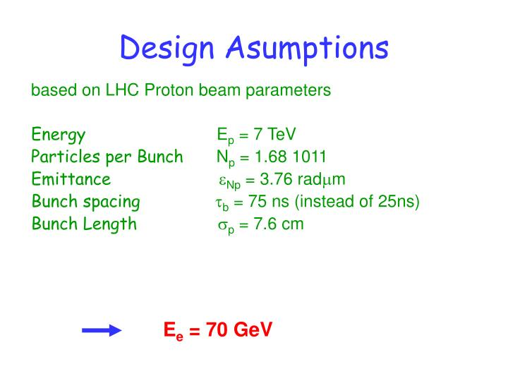 Design asumptions