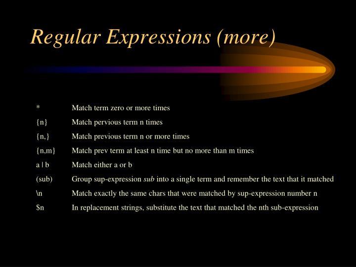 Regular Expressions (more)