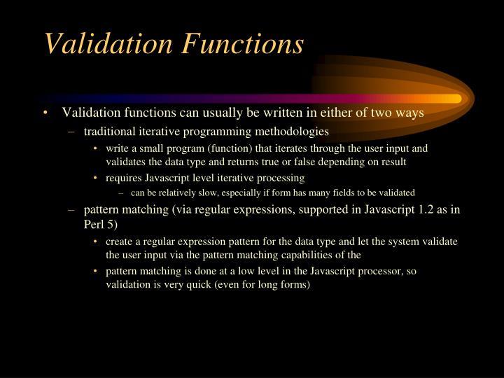 Validation Functions