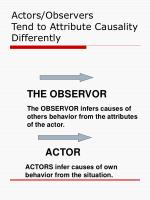 actors observers tend to attribute causality differently