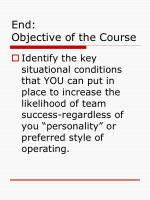 end objective of the course