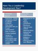 have you a leadership development plan