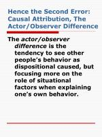 hence the second error causal attribution the actor observer difference